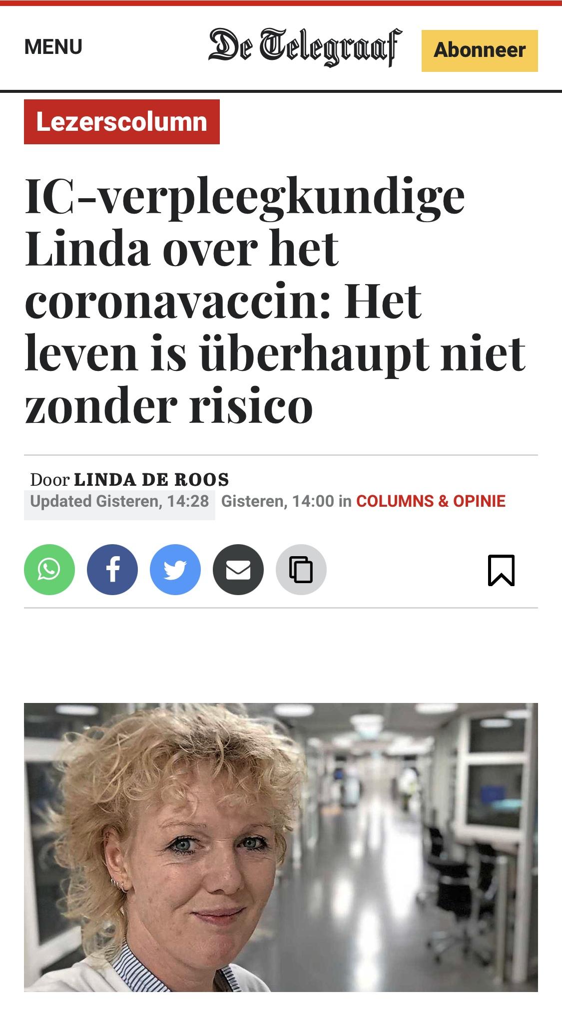 Linda in de Telegraaf